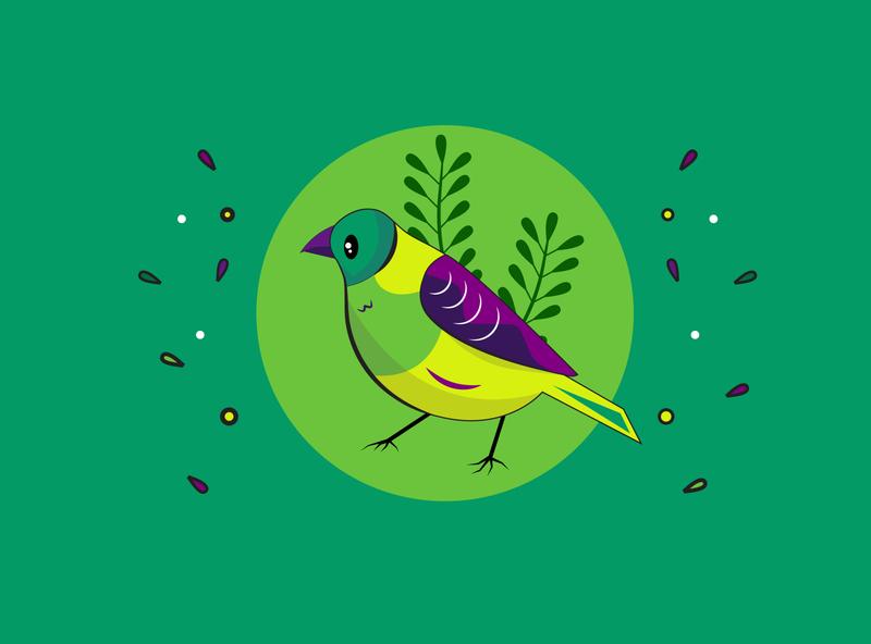 Let's Be Green grass branding draw forest nature flower cute green bird character artwork art design 2d art vector illustrator illustration flat 2d