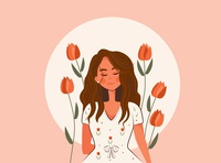 Her Vibe Is Pretty shine floral flower beautiful illustrations colors good vibes vibe girl color character artwork art design 2d art vector illustrator illustration flat 2d