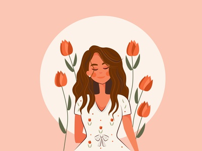 Her Vibe Is Pretty shine floral flower beautiful illustrations colors good vibes vibe girl color character artwork art design 2d art vector illustrator illustration flat 2d