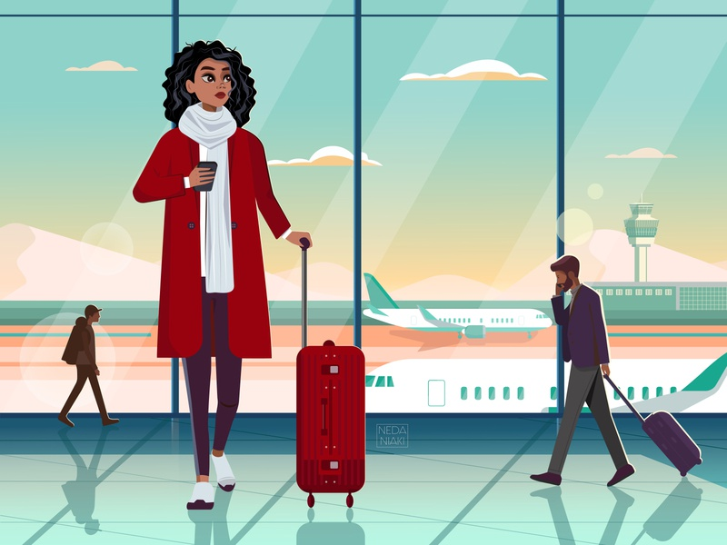 Airport Mood graphic character design branding color winter airplane girl character airport girl draw illustrator art character 2d art artwork design flat vector illustration