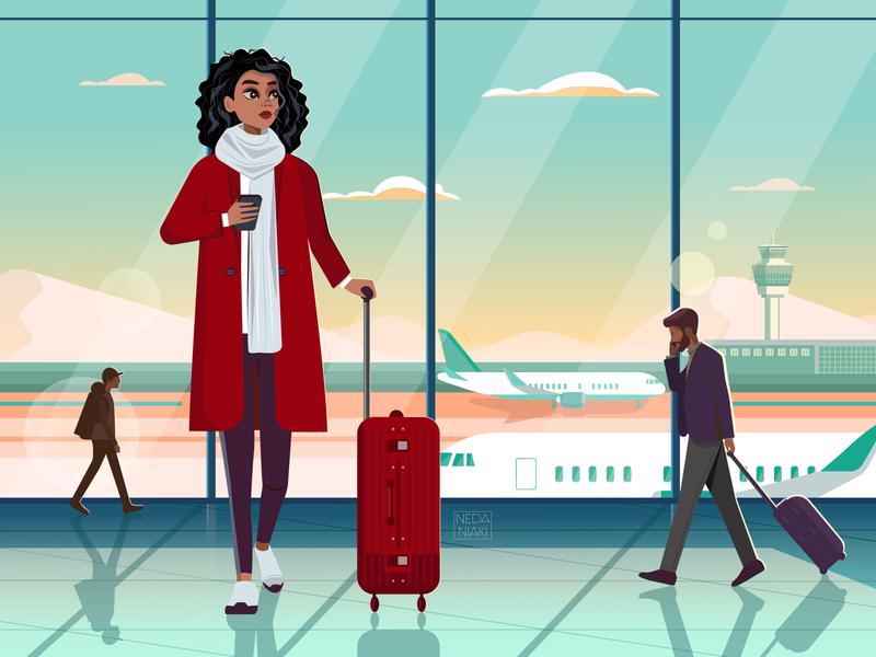 Airport Mood graphic character design branding color winter airplane girl character airport girl draw illustrator art character 2d art artwork design flat vector illustration