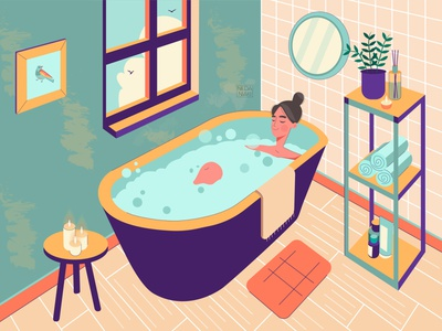 Moment of Peace draw graphic peace art color palette bathroom girl color character artwork 2d art design 2d vector illustrator illustration flat