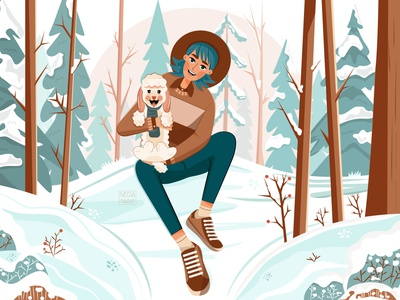 A Warm Hug snow trees pets characterdesign forest winter puppy girl color character artwork art design 2d art 2d vector illustrator illustration flat