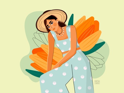 Tulips illustrations girl illustration colorful tulip girl color character artwork art design 2d art 2d vector illustrator illustration flat