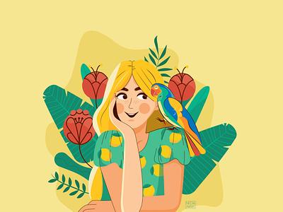 Happy Parrot flower colorful color summer parrot girl branding ui logo design 2d art 2d vector illustrator illustration flat