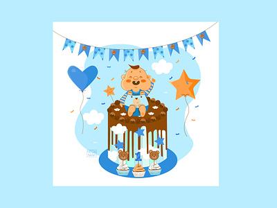 Happy Birthday artwork character design character colors happy birthday baby boy baby design 2d art 2d vector illustrator flat illustration