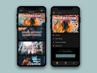 Collections in an app menu pro marketing button dark mode app design app music ultimate guitar collection ux ui