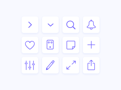 Outline icon set for a mobile app share notification pedal search ui app design music icon icon set outline icons app icons app