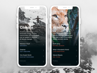 Earth Day Playlist climate wildlife list playlist earth world nature comment ui app design music app