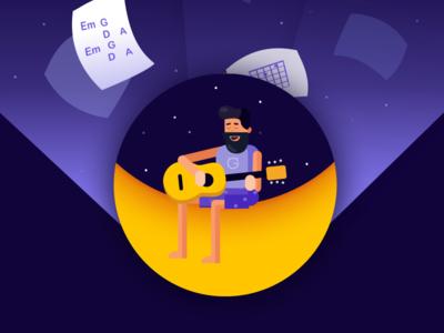 Midnight serenade evening romance light music man guitar illustration moon night serenade midnight