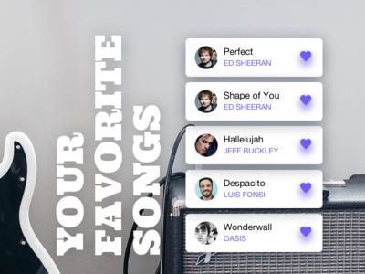 🎤 Favorite songs music list song top favorite like heart guitar ui ultimate guitar