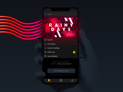 Make it rain button notification music jam vibe ux hand ui iphone card collection guitar