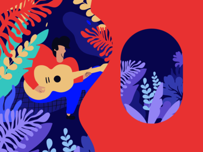Ballad picnic illustration man forest summer music song guitar leave character