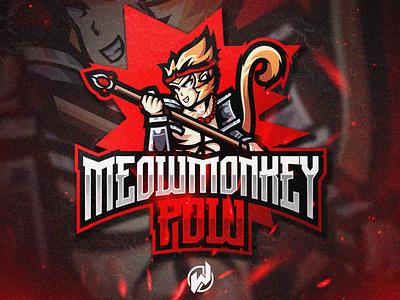 MEOW MONKEY POW animation logo esport gaming gamer esport logo illustration icon vector logo design