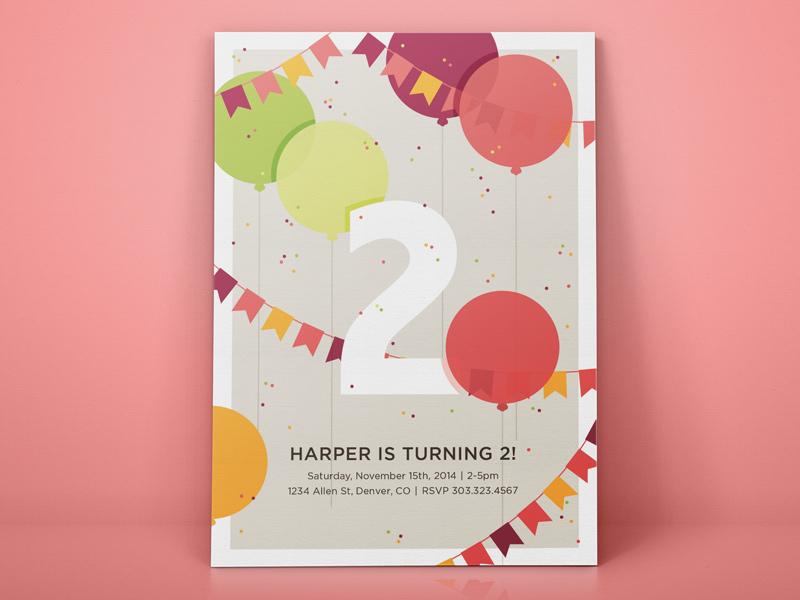 Birthday Invite Fun balloons invitation birthday