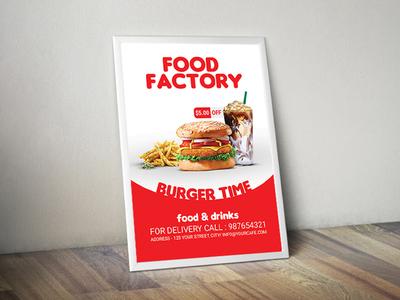 Burger Flyer01 snaks drink food fries shake burger flyer