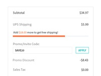 Free shipping meter on Cart page