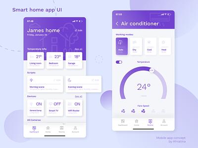 Smart home app UI control center control card color air air conditioner home smart smart home violet ux uidesign ui design app design application ui app ahratina