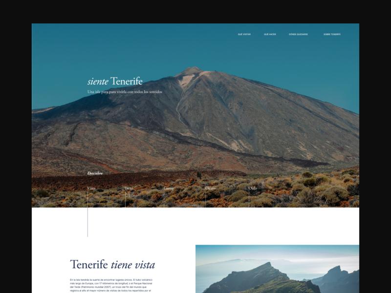 siente Tenerife ui design mountain travel concept photograhy design uxui ui visit island