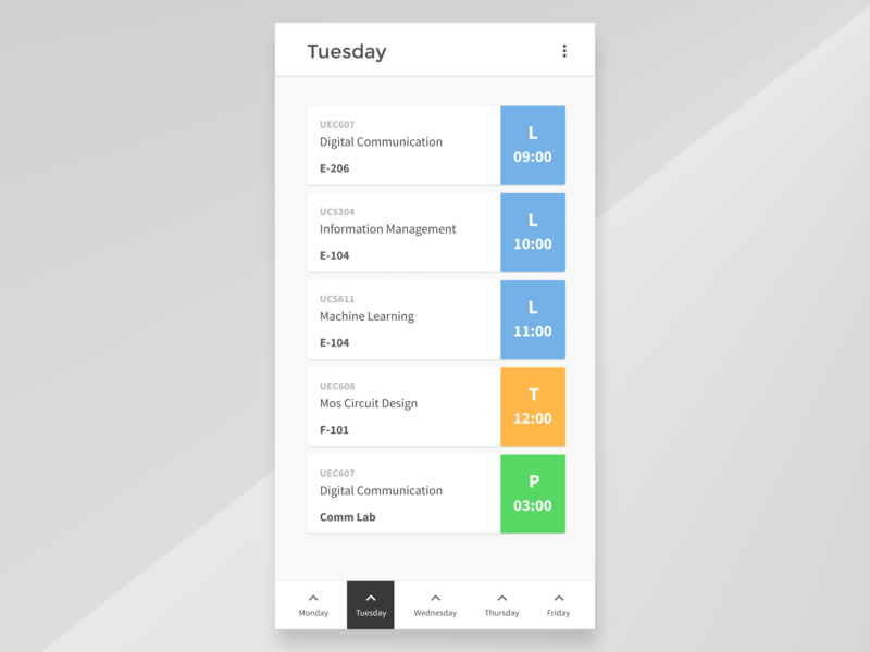 College Time Table App source sans pro time table app design figmadesign