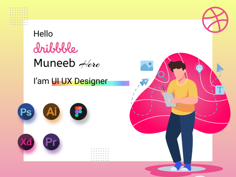 Hello Dribble website art flat web typography vector ui design illustration