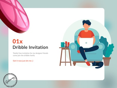 Dribble Invitation dribbleinvite dribble shot banner design banner website uiuxdesign uiux typography ux vector ui illustration design art