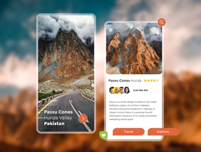 Travel Guide | Find Destinations destinations concept explore travelling travel app travel mobile hunzapakistan mobile ui mobile app design uiuxdesign uiux app typography branding ux ui illustration design art