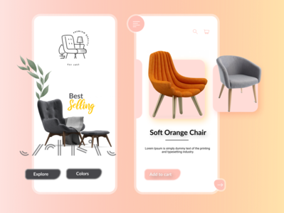 Furniture Mobile UI Concept uxuidesign product app product design concept furniture design furniture app ios app design app uiuxdesign typography ux ui illustration design art