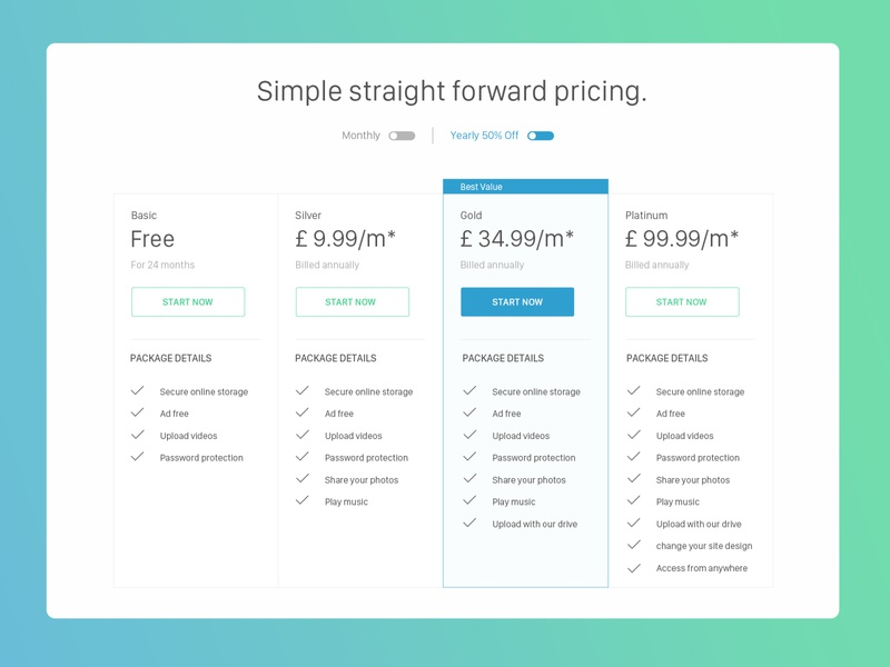 Simple, Neat & Clean Pricing Table pricing page new pricing plans website design pricing table pricingtable web concept website uiux uiuxdesign typography ux ui design