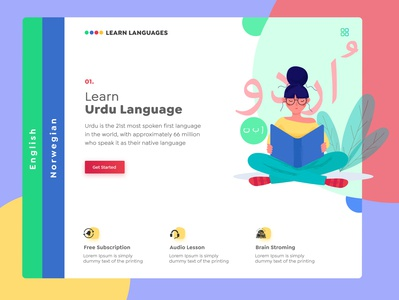 Learn Languages character creative urdu languages language learning langing page concept branding vector uiux uiuxdesign typography ux illustration art ui design