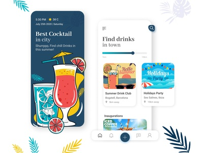 Summer Drinks colors mobileappdesign mobileapp creative uxdesigner uidesigner clean summer app design concept app vector uiux uiuxdesign typography ux illustration art ui design