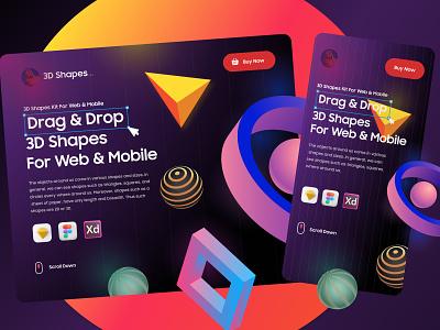 3D Shapes Website Design figma dubaidesigner 3dshapes uiux mobile ui website design 3d 3d art product product design banner website vector concept branding art uiuxdesign typography illustration design