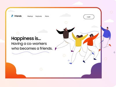 Friends / Co-Workers Landing Page Design banners websitebanner coworker friends brand identity banner website vector concept branding uiux uiuxdesign typography illustration ui design