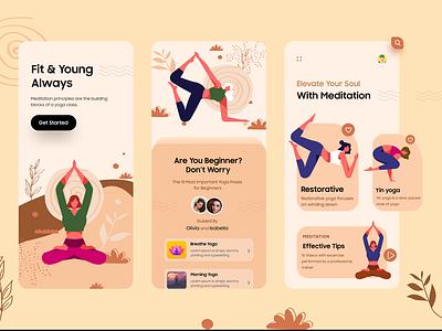 Yoga/Meditation Mobile UI Concept yoga app yoga pose dubaidesigner soul mobile young mobile ui mobileapp meditation yoga product design vector concept branding uiux uiuxdesign typography illustration ui design