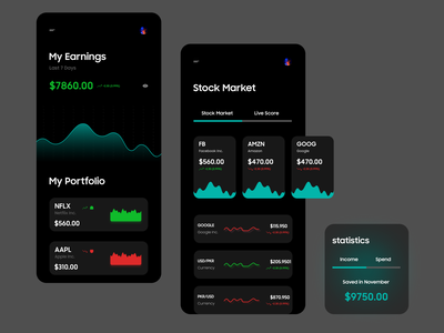 Dark UI for Stock Market / Finance dark app dark ui dubaidesigner figma mobileappdesign mobile ui mobileapp earning stock market finance product design app concept branding uiux uiuxdesign typography illustration ui design