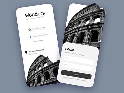 Signup/Login Concept | Wonders of the world login signup concept art apparel wonders mobile app dubaidesigner mobileappdesign app design vector art concept branding uiux uiuxdesign typography illustration ui design
