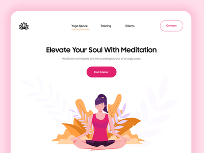 Meditation / Yoga Landing Page dubai designer header header design website concept website design webdesign websites landingpage meditation yoga product design website concept branding uiux uiuxdesign typography illustration ui design