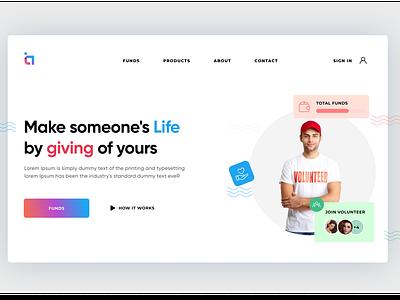 Fundraiser Landing Page funds landingpage header uidesign uiuxdesigner branding uiux uiuxdesign typography ui illustration design