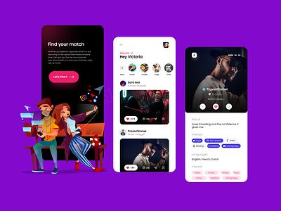 Social Dating Mobile UI Concept mobileapp social dating topshot graphic design datingmobileapp socialdating socialapp datingapp uiuxdesigner vector branding uiux uiuxdesign ui typography illustration design