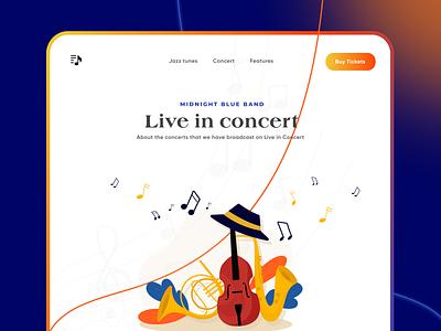 Jazz Concert Landing page product uiuxdesigner concert liveinconcert music jazzmusic jazz ui branding uiux uiuxdesign typography illustration design