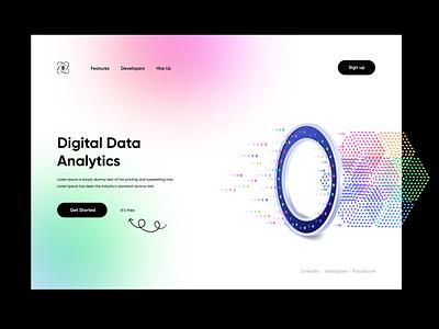 Data Analytics Minimal Landing Page analytics digitaldata homepage websitedesign herosection landingpage concept product design uiuxdesigner dataanalytics ui uiux uiuxdesign typography illustration design