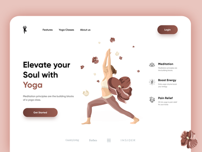 Yoga / Meditation Landing page soul uiuxdesigner banner herosection websitedesign graphic design meditation yoga landingpage yoga branding uiux uiuxdesign ui typography illustration design