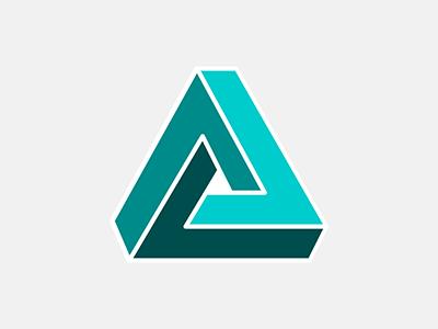 Penrose Triangle shape impossible triangle symbol icon escher