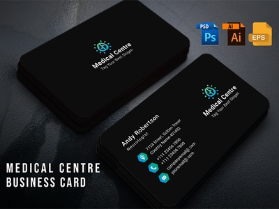 Medical Centre Business Card busines card template pharmaceutical pharmacy medicine medicare medical care blakish black clean minimal hospital medical center medical centre clinic design illustration card modern medical