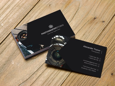 Photography Business Card graphic creative print sketch photo designer studio photographer photography vector elegant typography design branding psd blackish card clean modern
