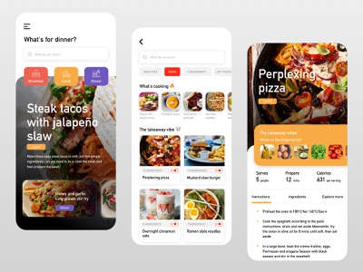 Exploration - A food recipe app concept ui pizza dinner foodie food app app website design branding simple product layout clean