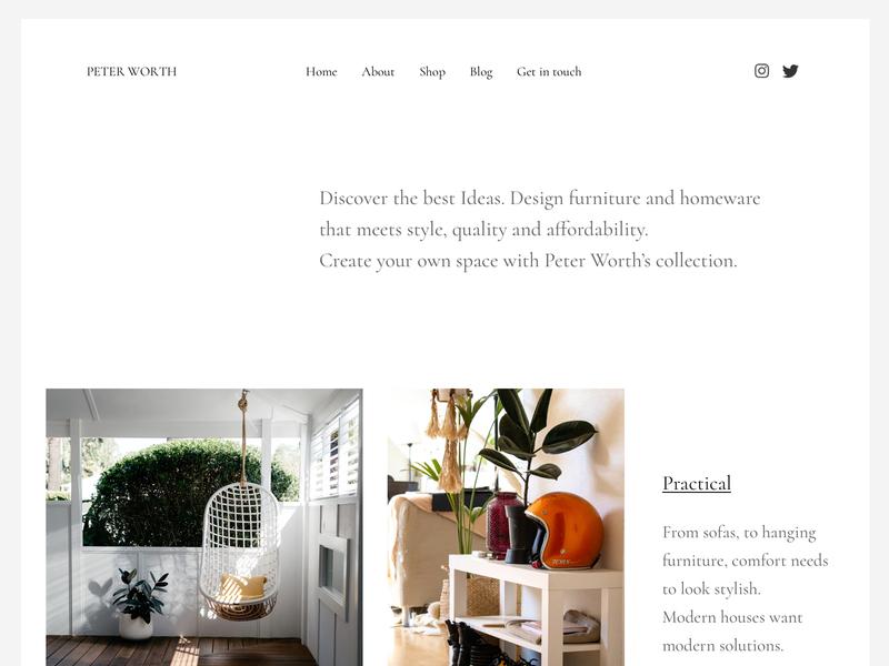 Minimal furniture and homeware website ecommerce grid homeware furniture store homepage minimalistic minimal clean layout design website