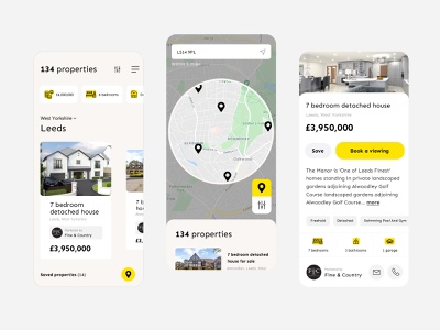 Find a property (app only) housebuying property search house app design app minimal grid simple product layout clean ui web design website