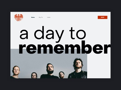 A Day to Remember - website ux interaction home page product simple minimal music layout clean web ui design website