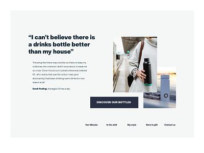 Drink bottle brand exploration - testimonials testimonial exploration blue minimal drinks bottle layout clean web ui design website